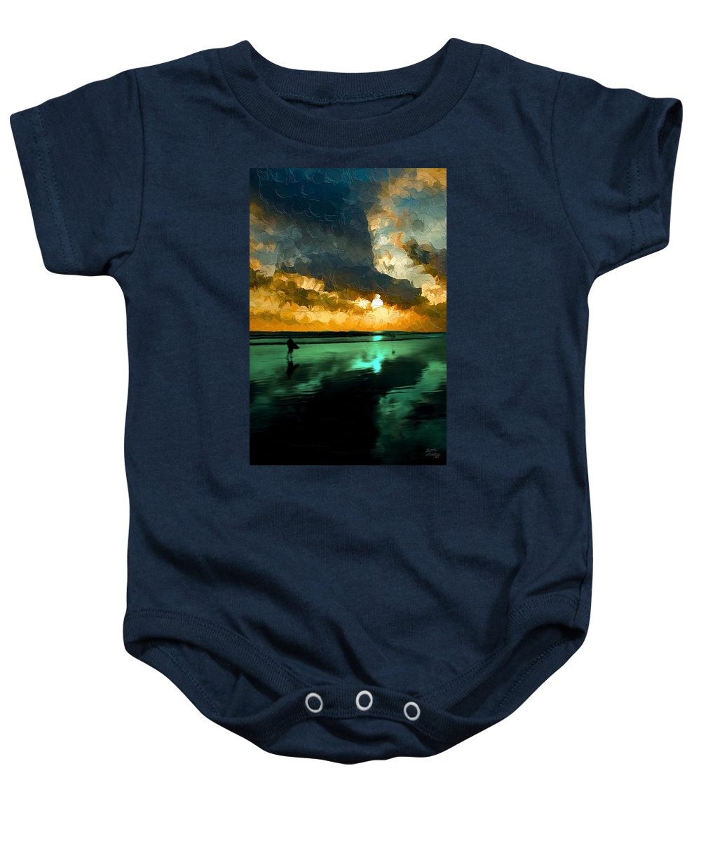 Sunset Baby Onesie featuring the painting Sunset On The Beach by Bruce Nutting
