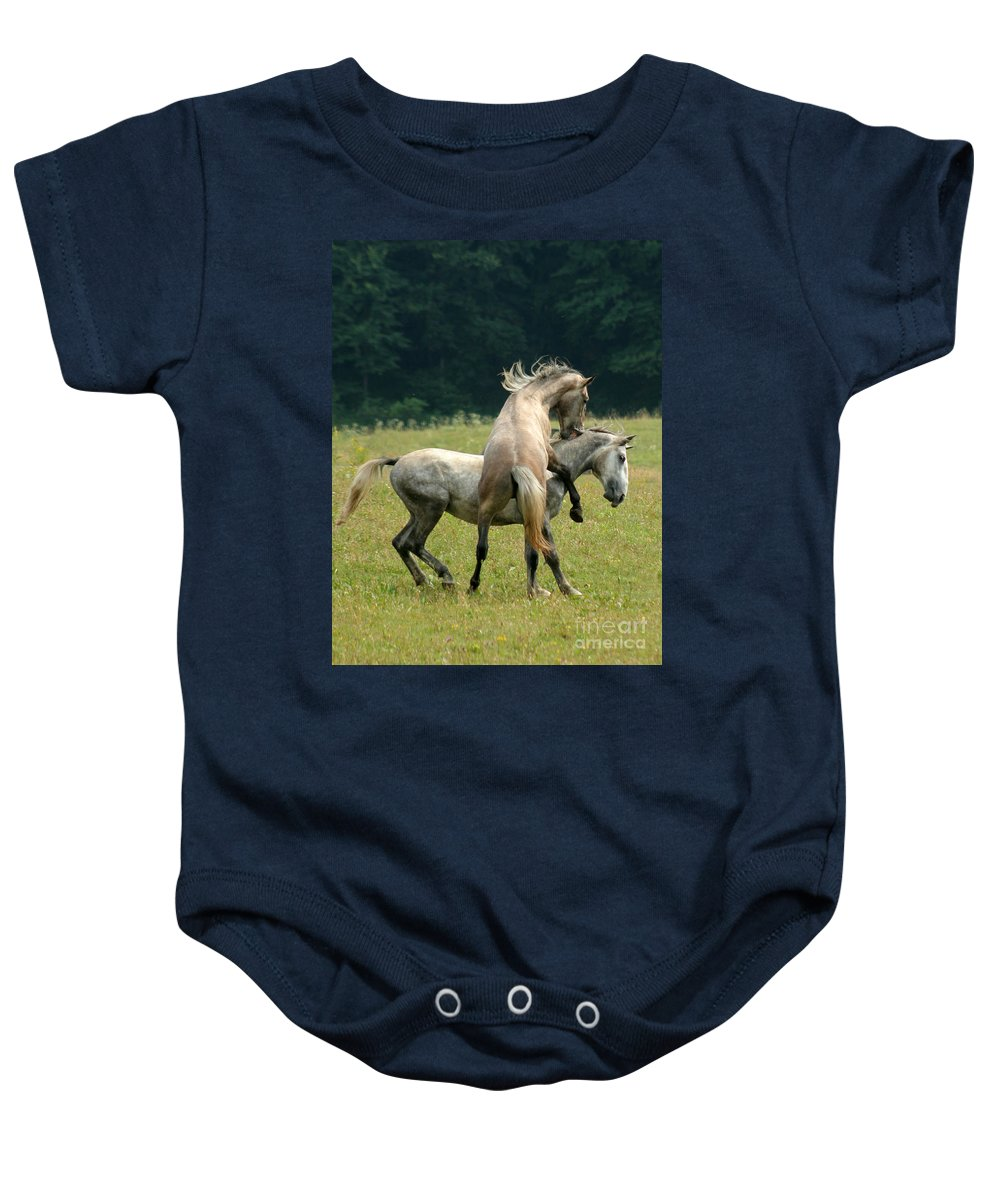 Horse Baby Onesie featuring the photograph The Bite by Angel Tarantella