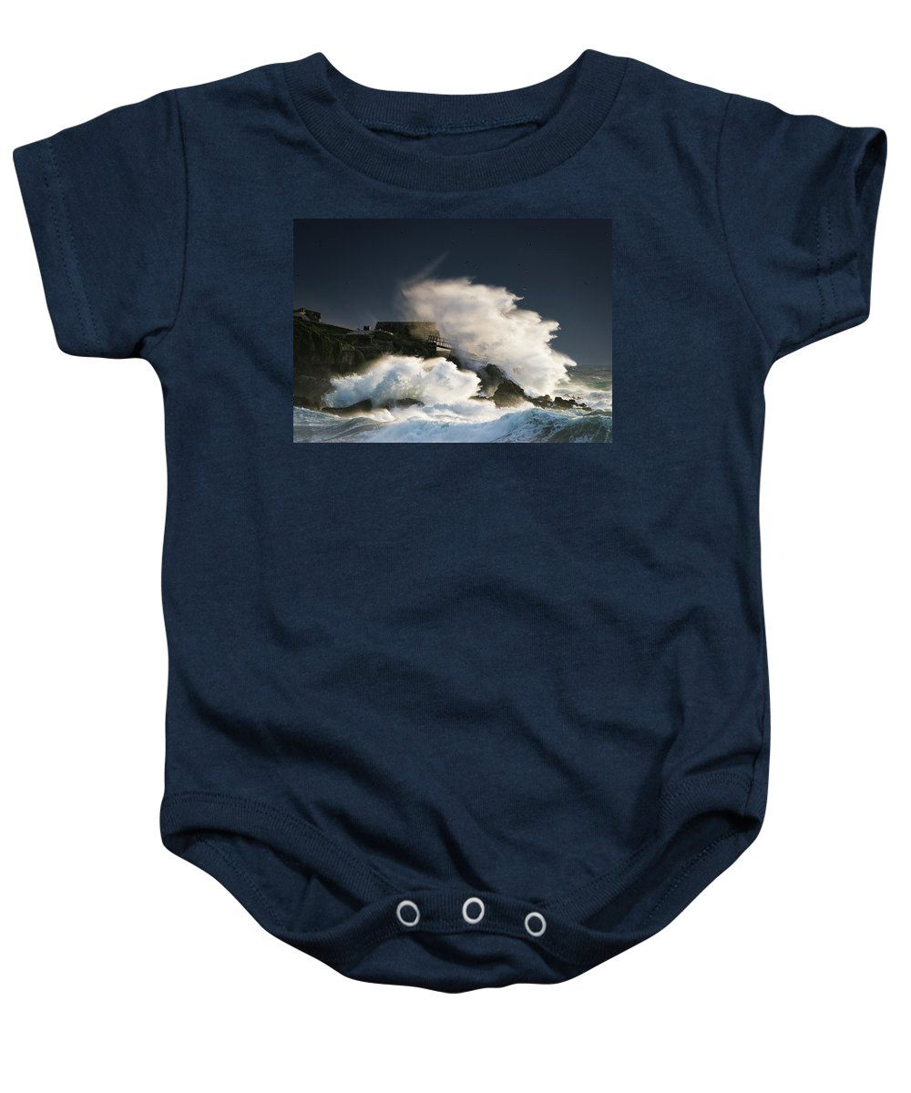 Andalusia Baby Onesie featuring the photograph Wave Crashing Into Shore And Splashing by Ben Welsh