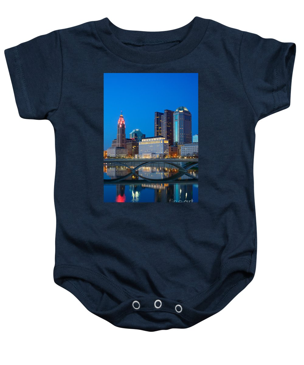 Columbus Baby Onesie featuring the photograph Fx2l-516 Columbus Ohio Night Skyline Photo by Ohio Stock Photography