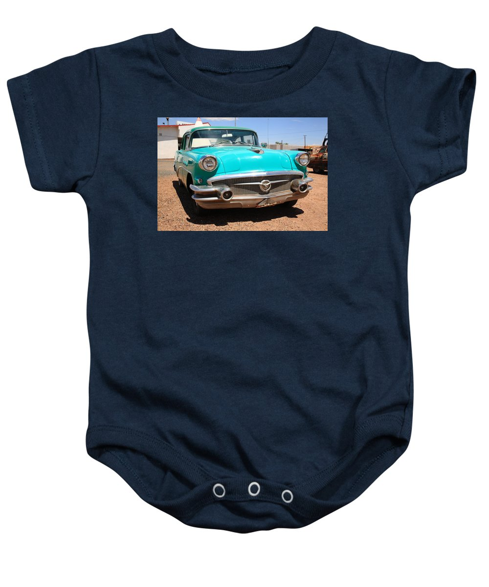 66 Baby Onesie featuring the photograph Route 66 Classic Car by Frank Romeo