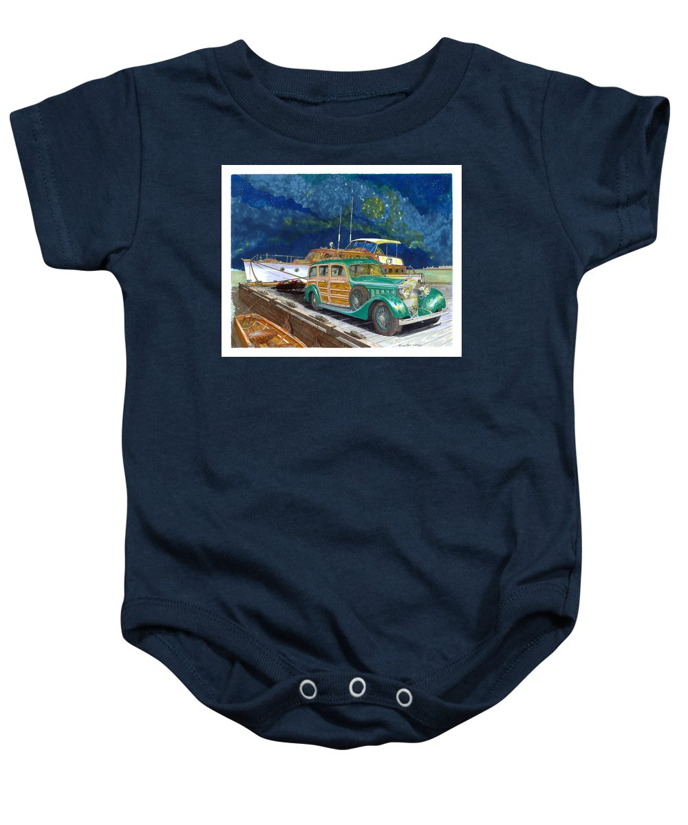 Classic Car Art Baby Onesie featuring the painting 1936 Hispano Suiza Shooting Brake by Jack Pumphrey