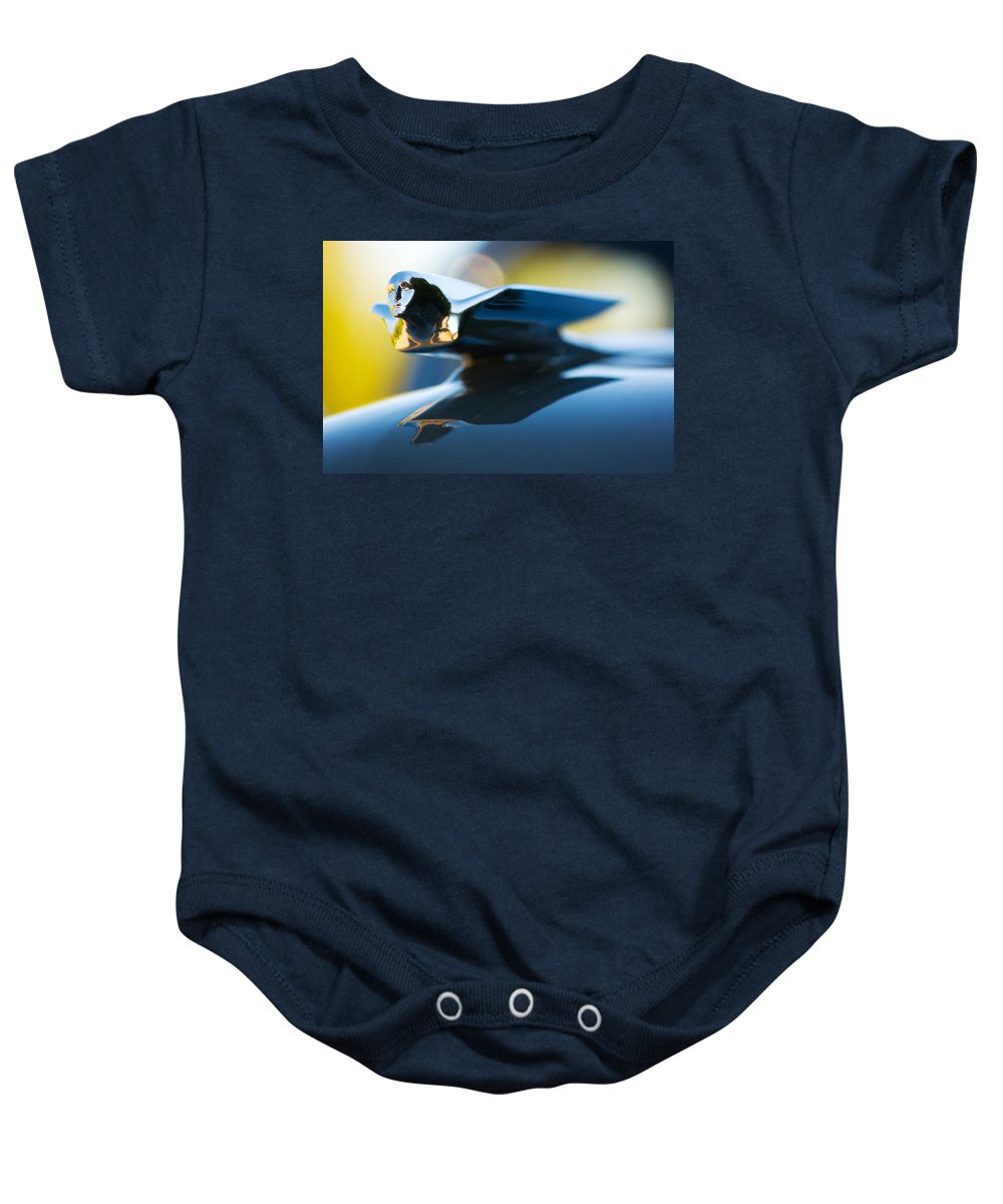 1947 Cadillac Model 62 Coupe Hood Ornament Baby Onesie featuring the photograph 1947 Cadillac Model 62 Coupe Hood Ornament by Jill Reger