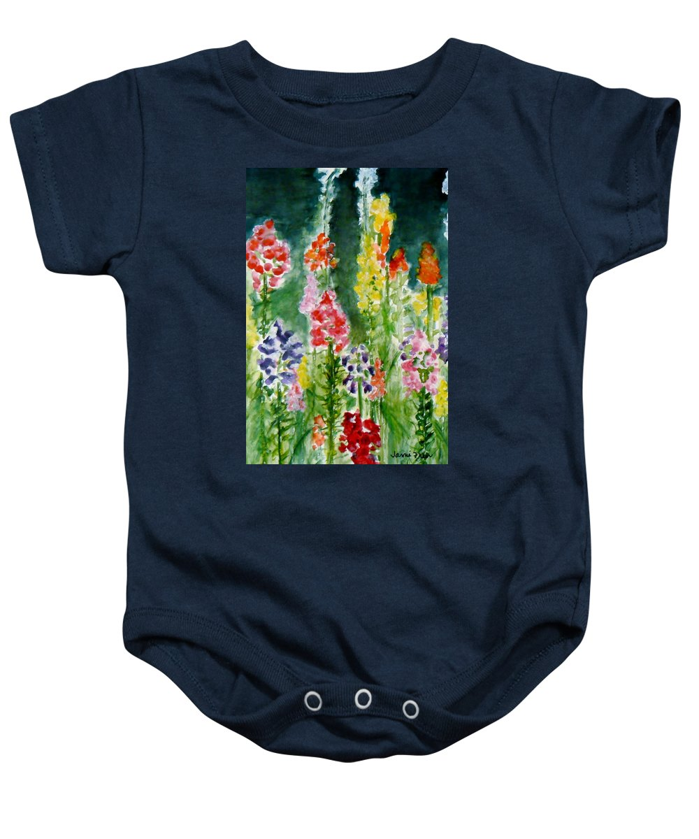 Snapdragon Baby Onesie featuring the painting Donna's Snaps by Jamie Frier