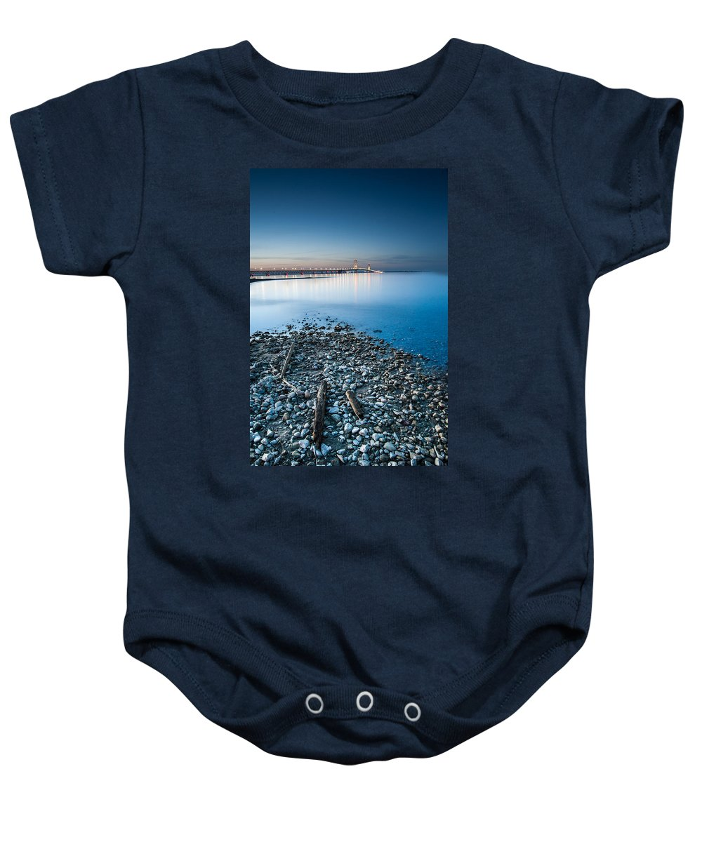 Michigan Baby Onesie featuring the photograph Mackinac Bridge by Larry Carr