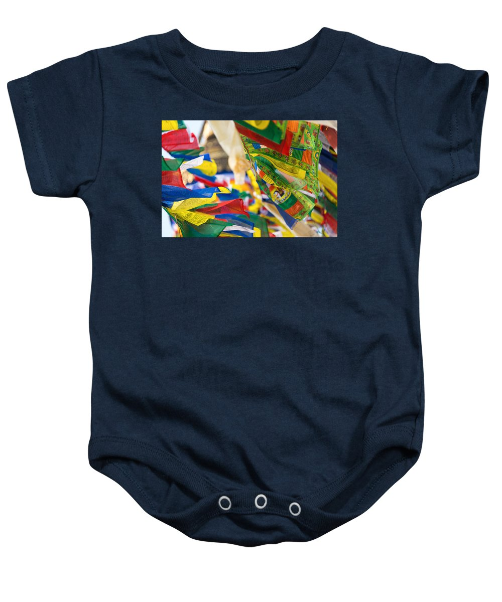 Buddhism Baby Onesie featuring the photograph Prayer Flags by Dutourdumonde Photography