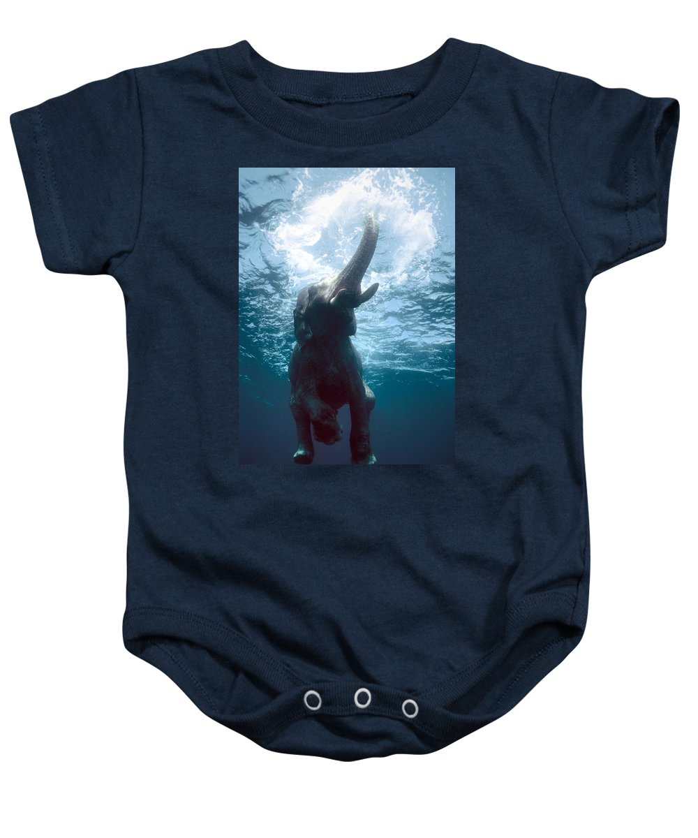 Swim Baby Onesie featuring the photograph Swimming Elephant by Olivier Blaise