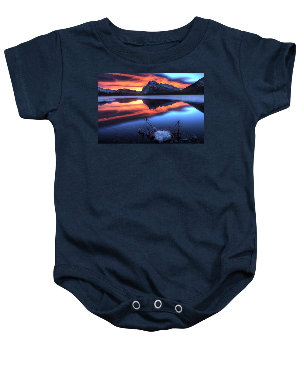 Canada Baby Onesie featuring the photograph Vermillion Lakes Mount Rundle by Mark Duffy