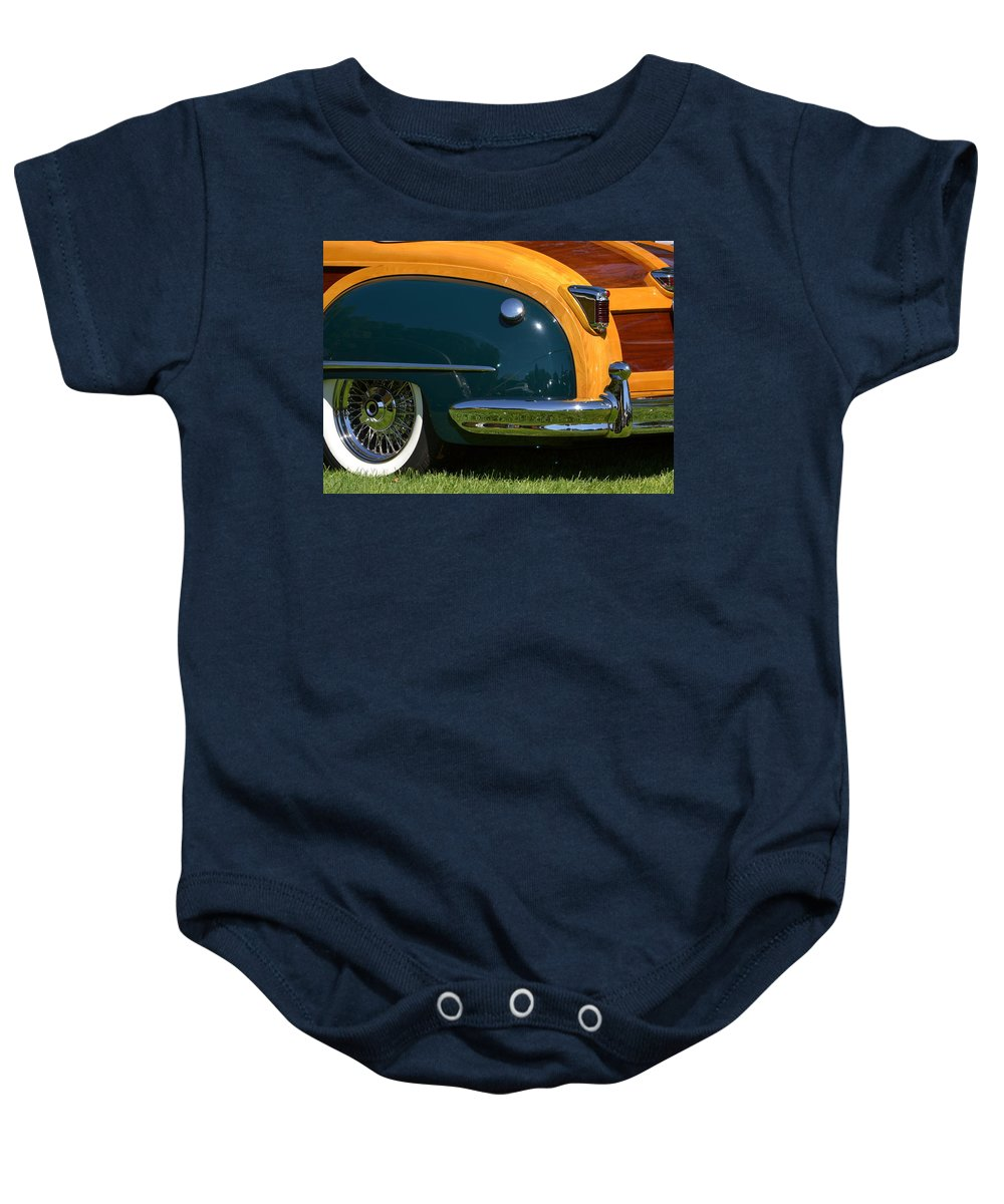 Station Baby Onesie featuring the photograph Woodie by Dean Ferreira