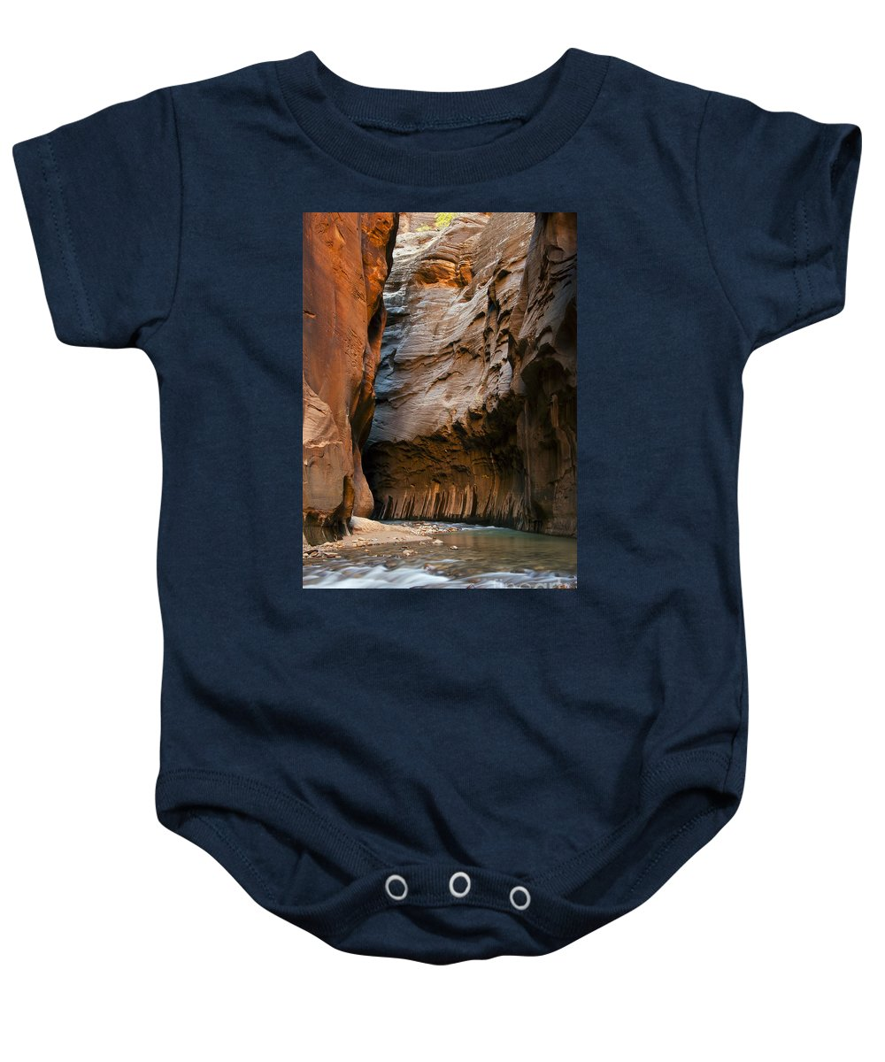 The Narrows Baby Onesie featuring the photograph Canyon Trail by Bob Phillips