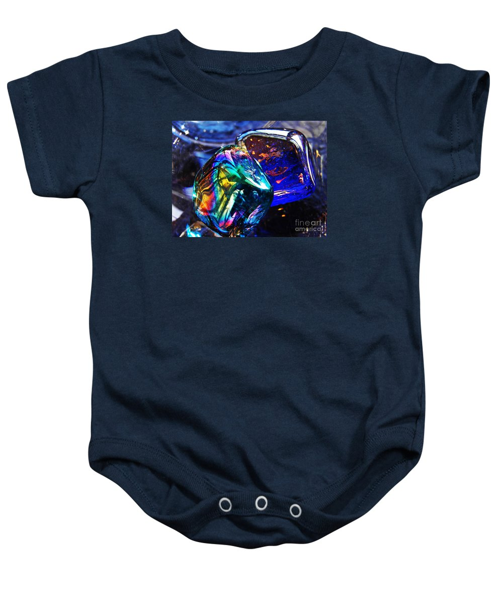 Abstract Baby Onesie featuring the photograph Glass Abstract 682 by Sarah Loft