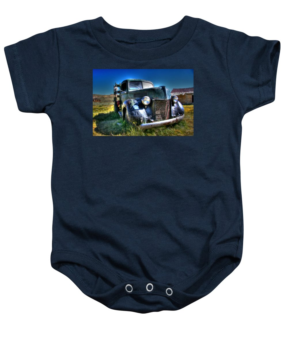 Hdr Baby Onesie featuring the photograph Old Truck At Bodie by Chris Brannen