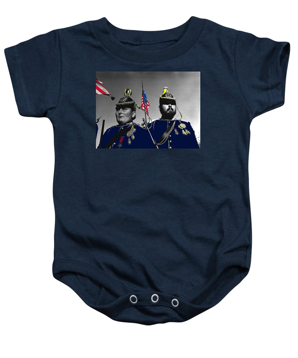 5th Memorial Calvary Indian Wars Memorial Encampment At Ft. Lowell Tucson Arizona Color Added John Ford's Cavalry Trilogy John Wayne American Flags Baby Onesie featuring the photograph 5th Memorial Calvary Indian Wars Memorial Encampment Ft. Lowell Tucson Arizona by David Lee Guss
