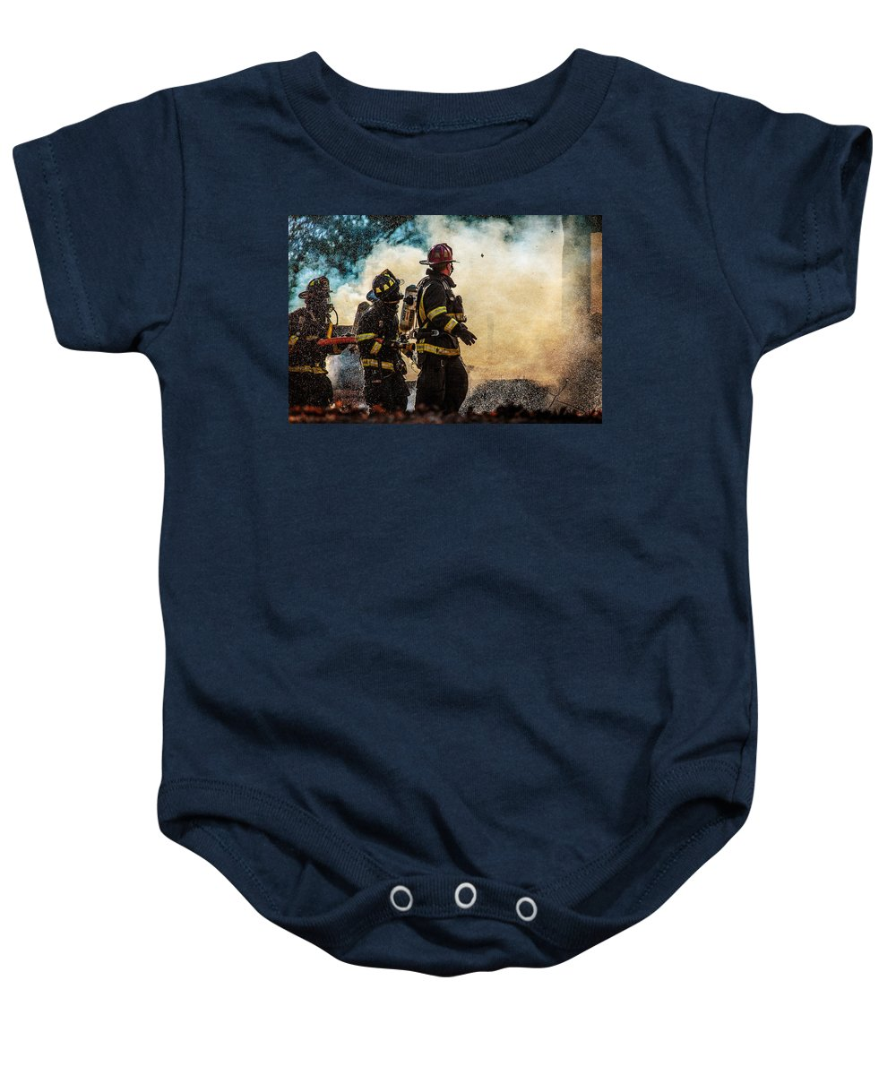 Fire Baby Onesie featuring the photograph Firefighters by Everet Regal