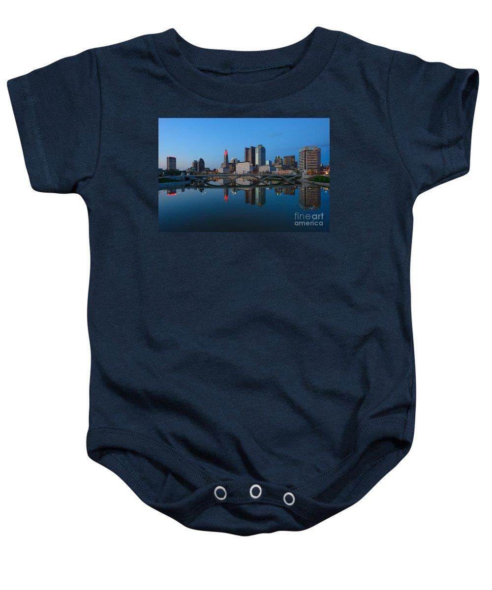 Columbus Baby Onesie featuring the photograph Fx2l-508 Columbus Ohio Skyline Photo by Ohio Stock Photography