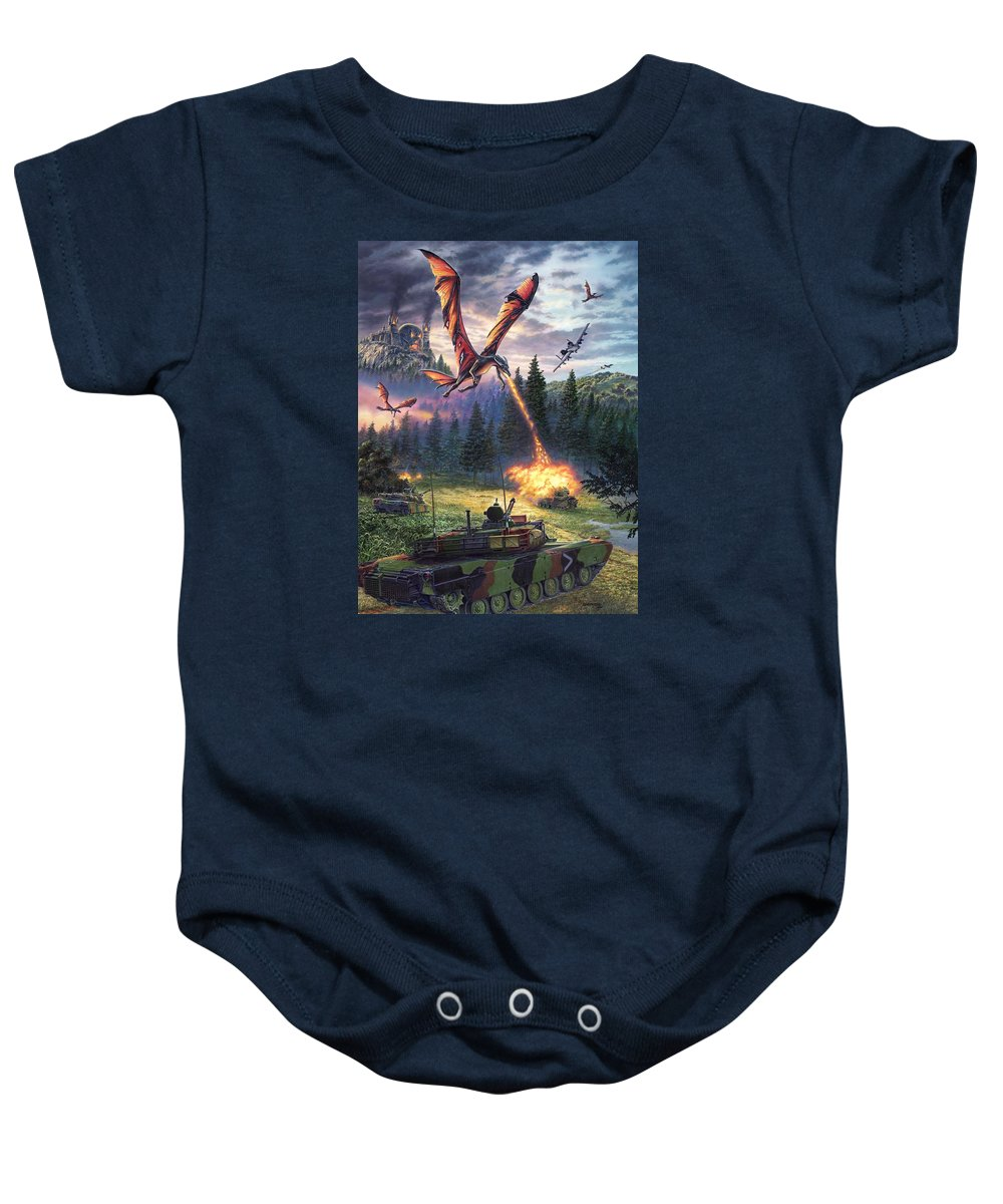 Dragon Baby Onesie featuring the painting A Clash Of Worlds by Stu Shepherd