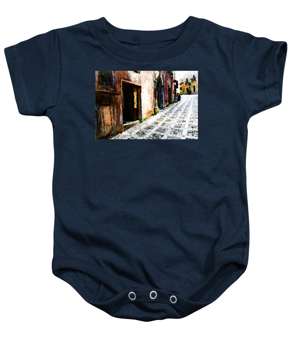 Painting Baby Onesie featuring the photograph A Painting An Italian Street by Mike Nellums