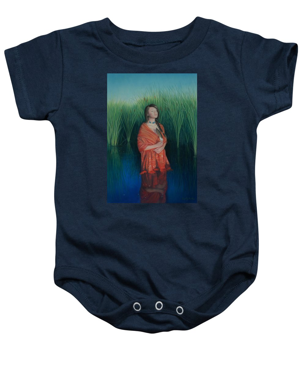 Realistic Baby Onesie featuring the pastel A Prayer For The Waters by Holly Kallie