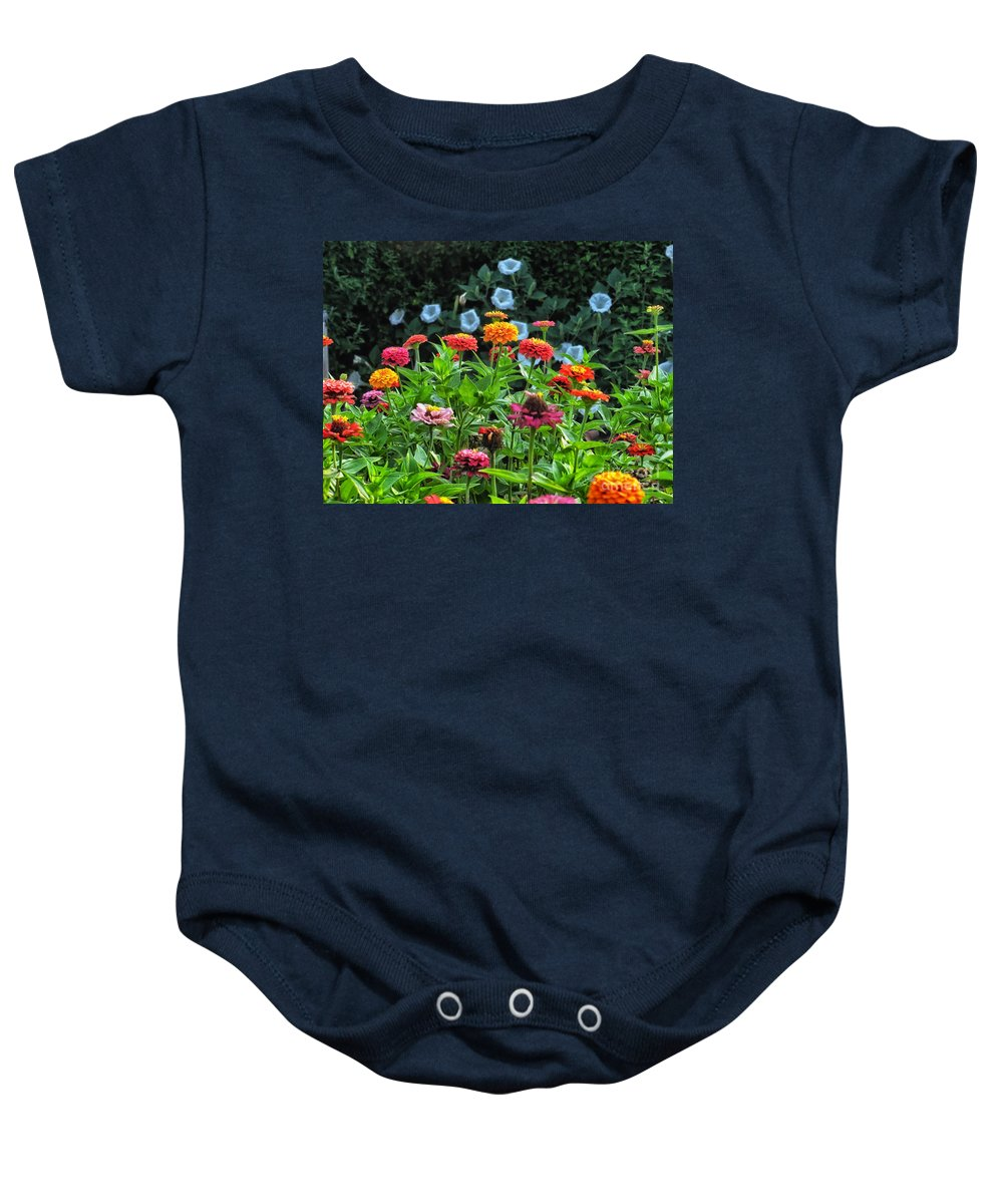 Floral Baby Onesie featuring the photograph A Sea Of Zinnias 15 by Thomas Woolworth