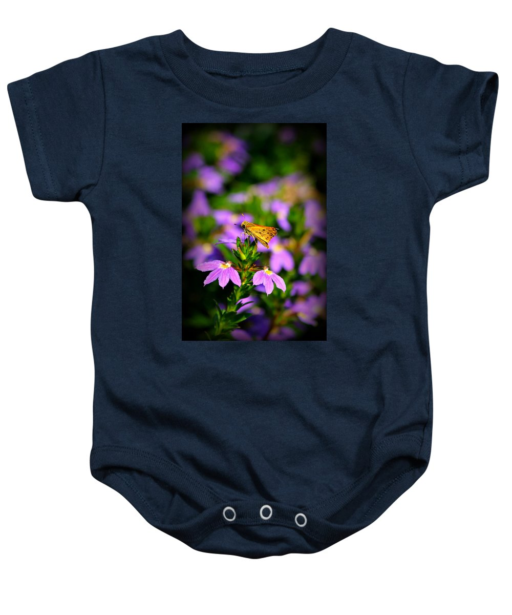 Butterflies Baby Onesie featuring the photograph A Top by Reid Callaway