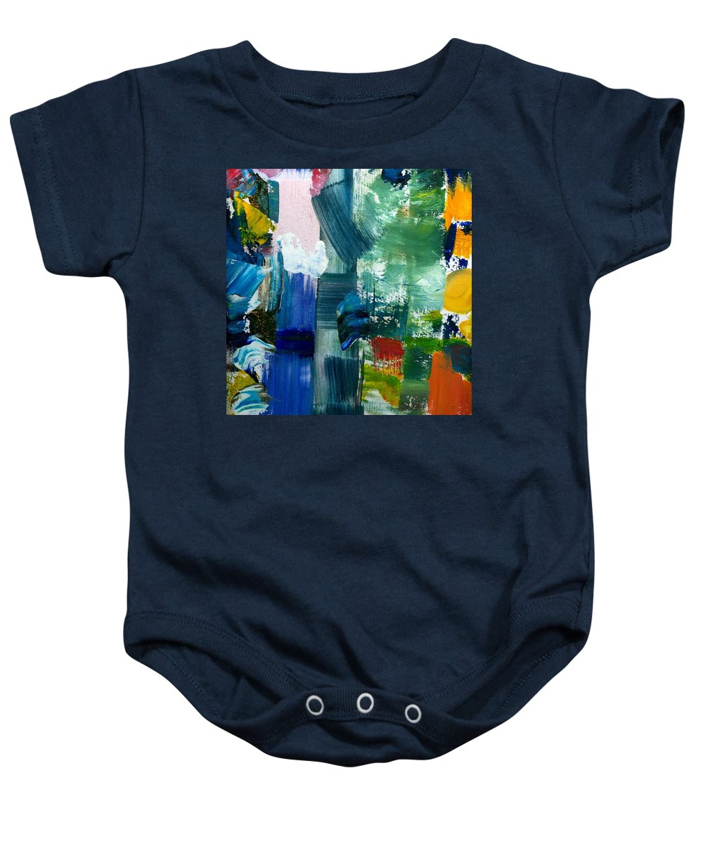Abstract Collage Baby Onesie featuring the painting Abstract Color Relationships lll by Michelle Calkins