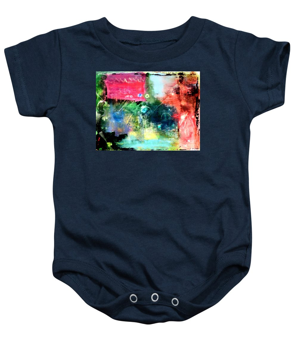 Abstract Baby Onesie featuring the painting Abstract Mind by Julia Walsh