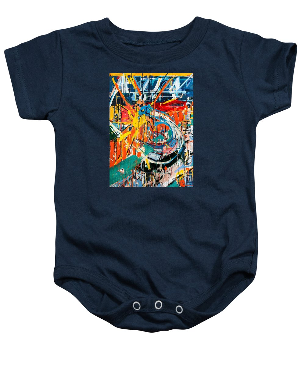 Abstract Art Baby Onesie featuring the painting Action Abstraction No. 7 by David Leblanc