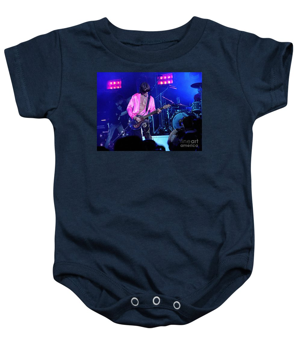 Aerosmith Baby Onesie featuring the photograph Aerosmith-joe Perry-00134-2 by Gary Gingrich Galleries