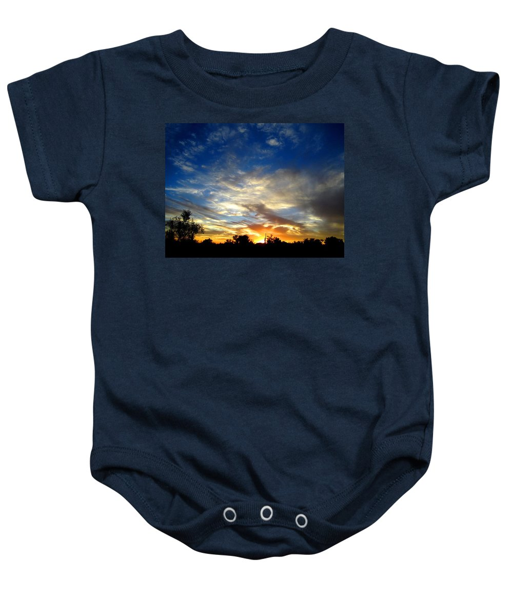 Sky Baby Onesie featuring the photograph Alabaster Sky by Nelson Strong