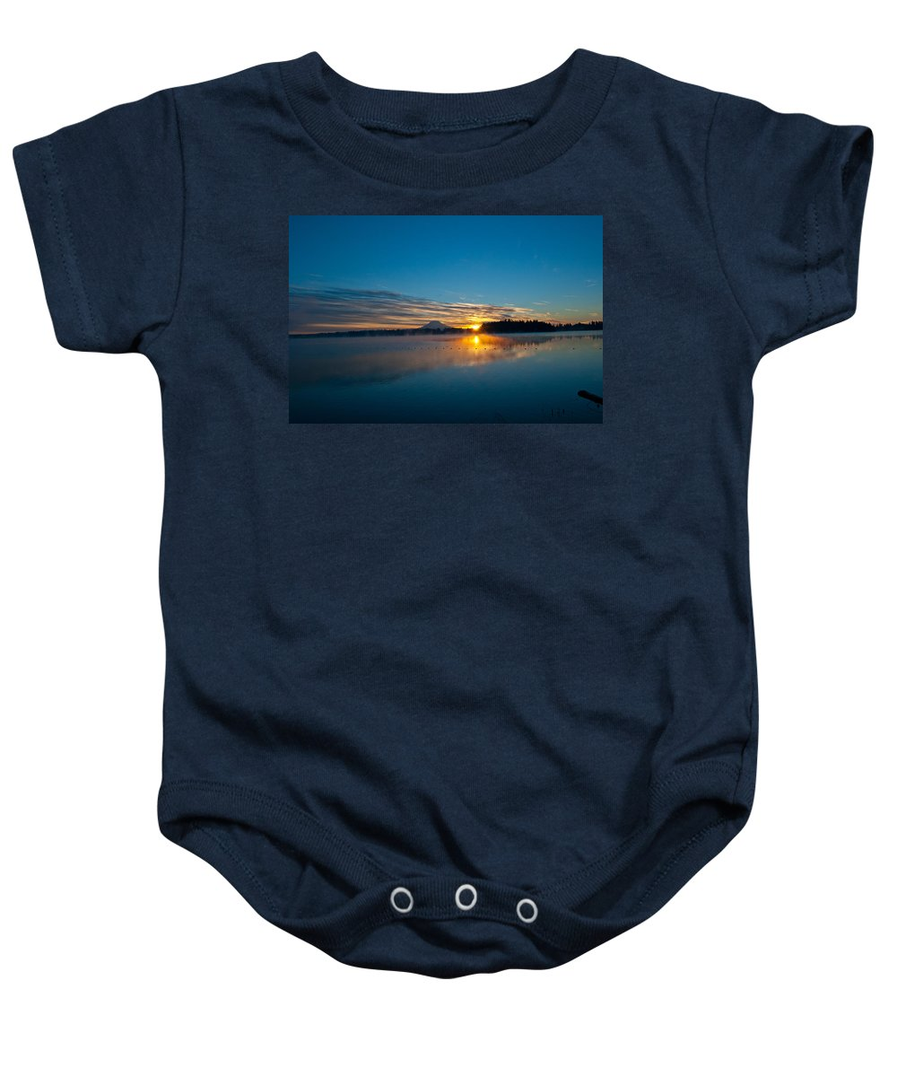 American Lake Sunrise Baby Onesie featuring the photograph American Lake Sunrise by Tikvah's Hope