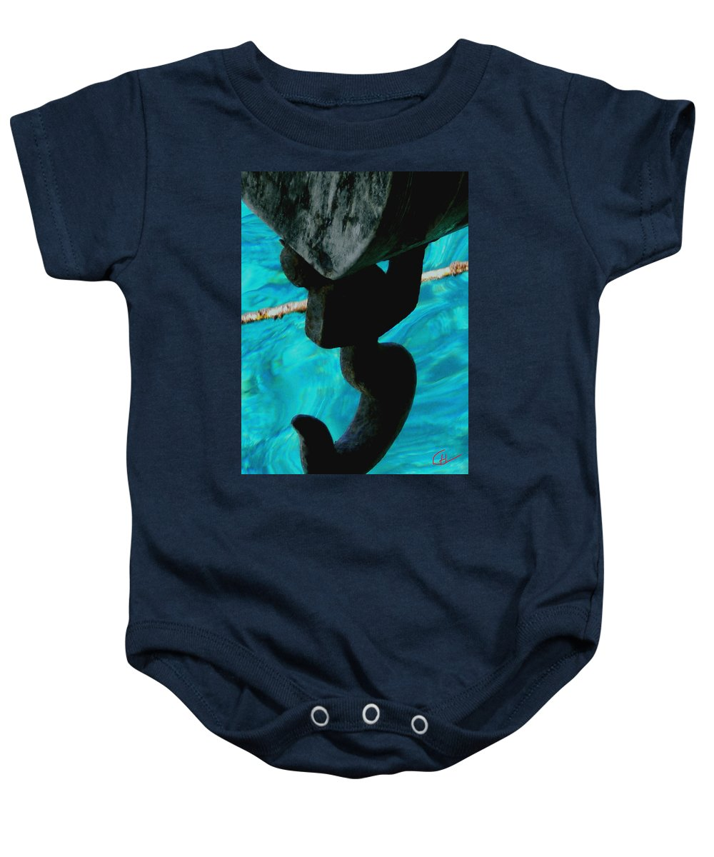 Colette Baby Onesie featuring the photograph Ancher In Water Santorini Greece by Colette V Hera Guggenheim