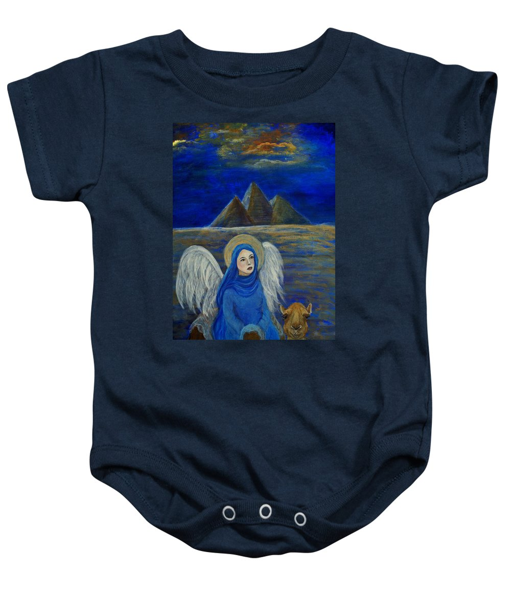 Egypt Baby Onesie featuring the painting Angel From Eygpt Called Lapis Lazueli by The Art With A Heart By Charlotte Phillips