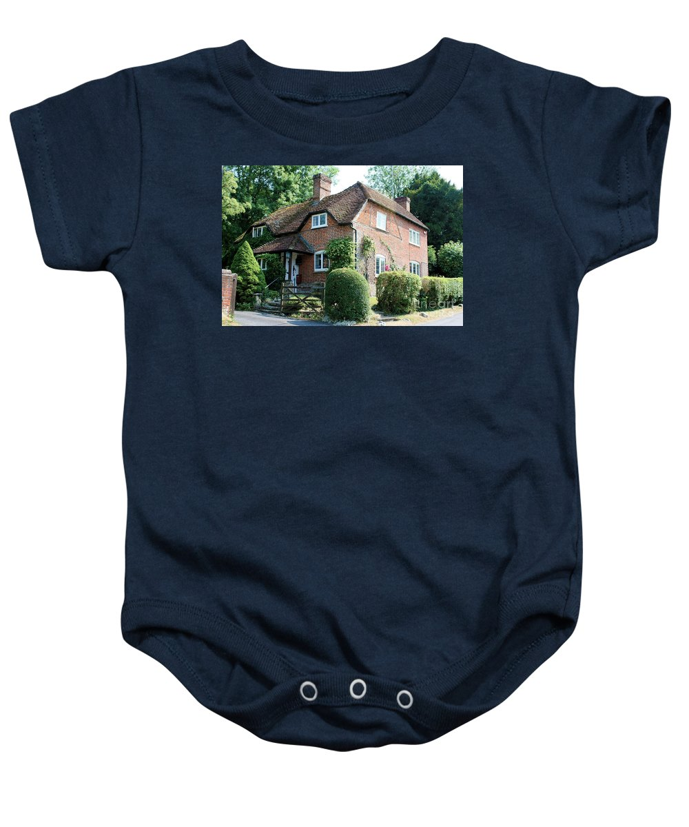 Ashers Farmhouse Baby Onesie featuring the photograph Ashers Farmhouse Five Bells Lane Nether Wallop by Terri Waters