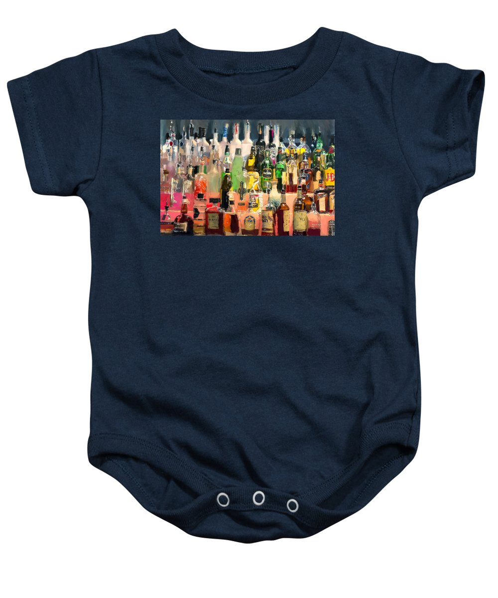 Bar Baby Onesie featuring the painting At The Bar by Angela Stanton