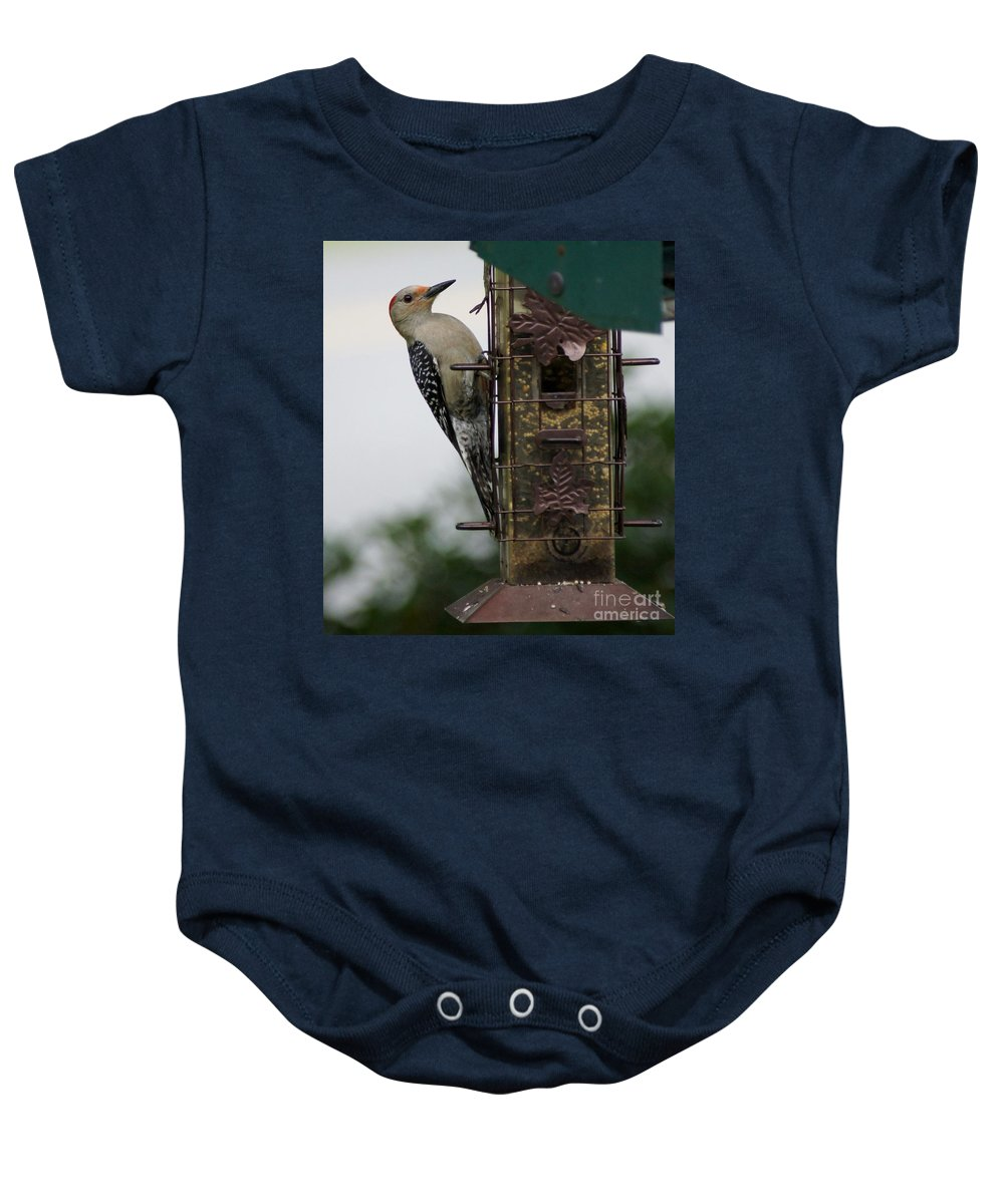 Nature Baby Onesie featuring the photograph At The Feeder by Evelyn Hill