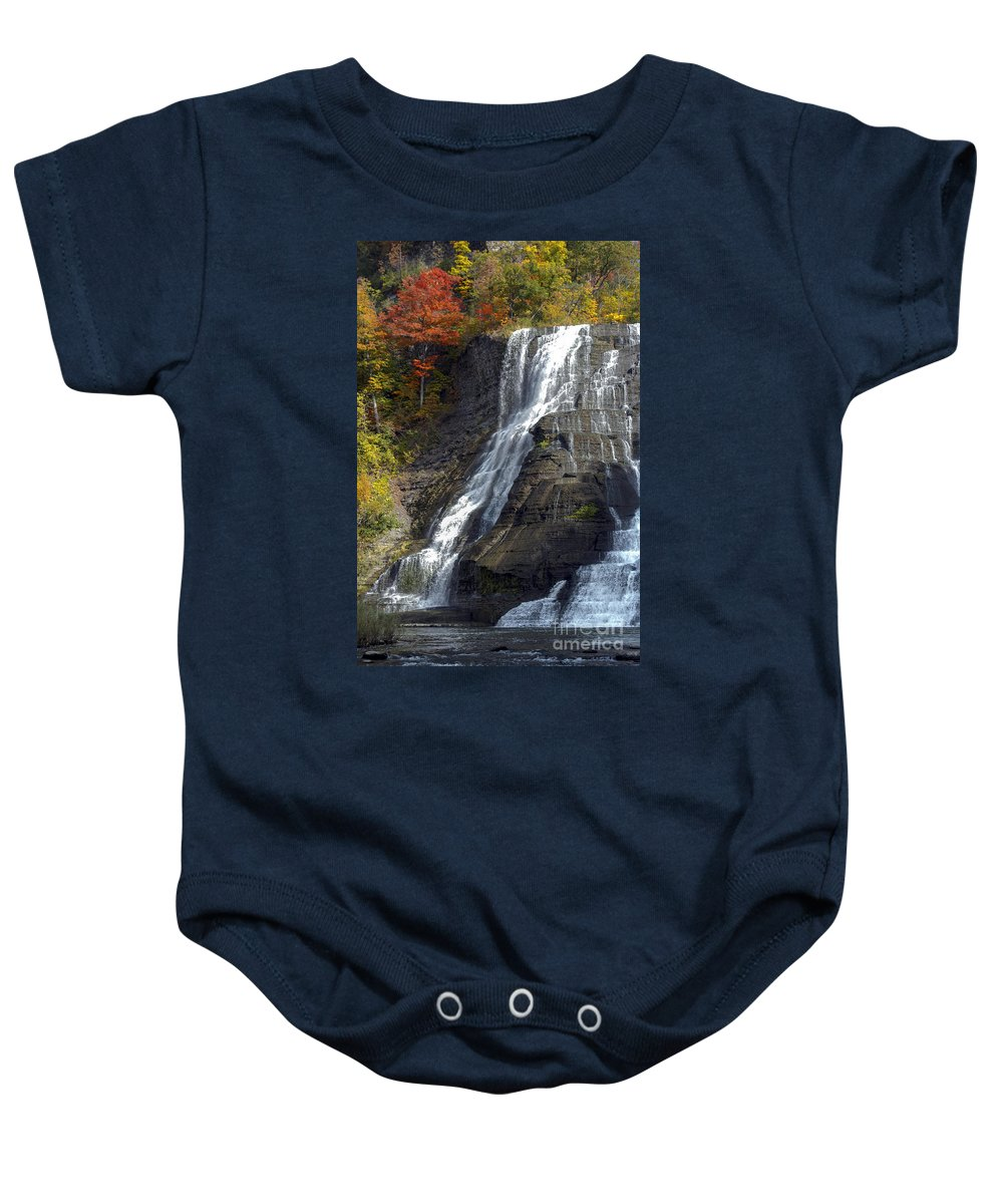 Ithaca Falls New York Waterfall Waterfalls Water Tree Trees Autumn Leaves Fall Color Colors Leaf Landscape Landscapes Waterscape Waterscapes Baby Onesie featuring the photograph Autumn Falls by Bob Phillips