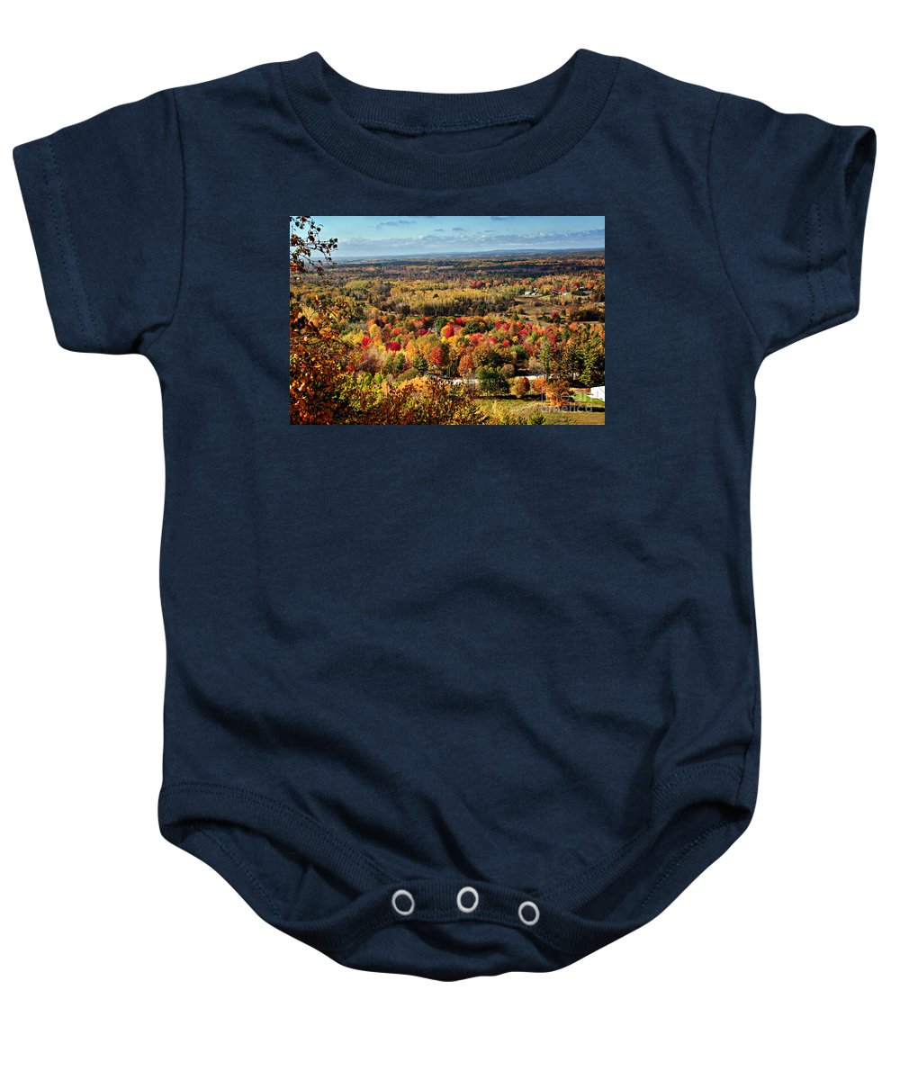 Autumn Picture Baby Onesie featuring the photograph Autumn Glory Landscape by Gwen Gibson