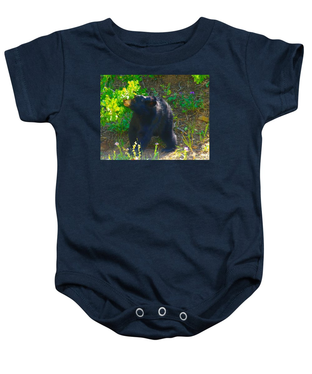 Bears Baby Onesie featuring the photograph Baby Bear Cub by Jeff Swan
