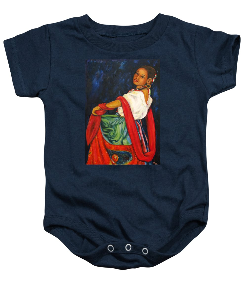 Baile Baby Onesie featuring the painting Baile Conmigo by Pat Haley