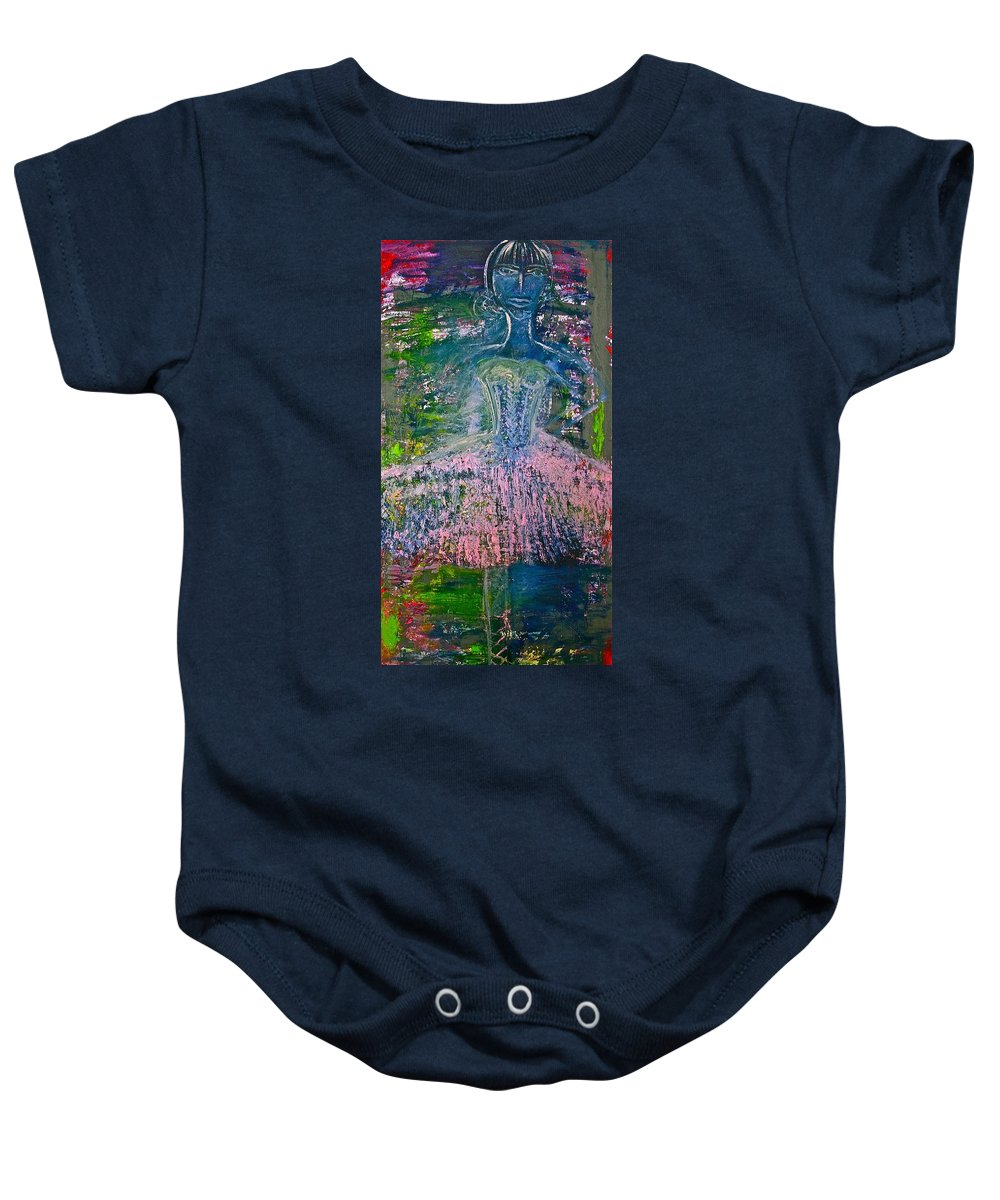 Art Baby Onesie featuring the painting Ballerina Nutcracker by Jamie Lawrence