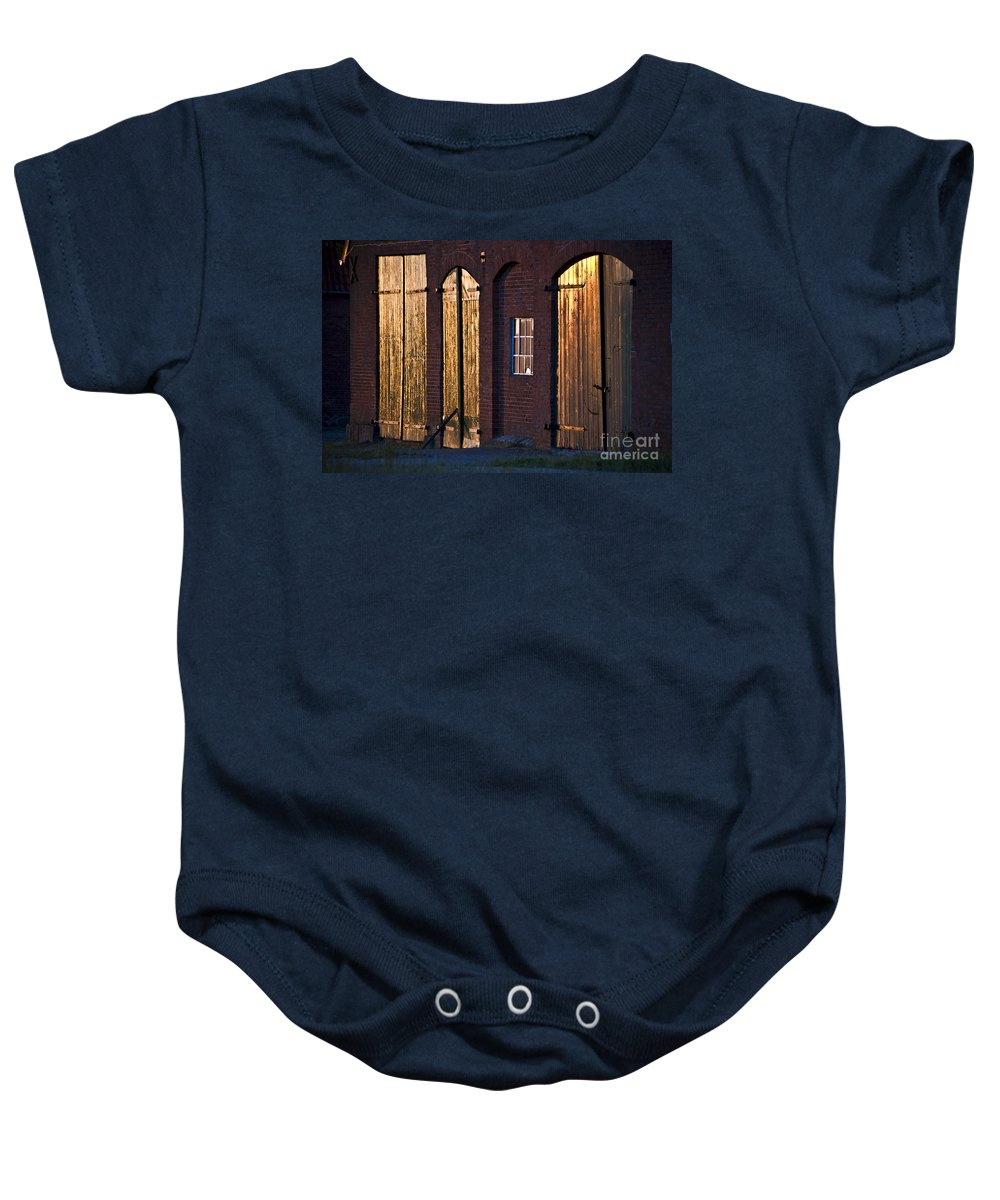 Koehrer-wagner_heiko Baby Onesie featuring the photograph Barn Door Lighting by Heiko Koehrer-Wagner