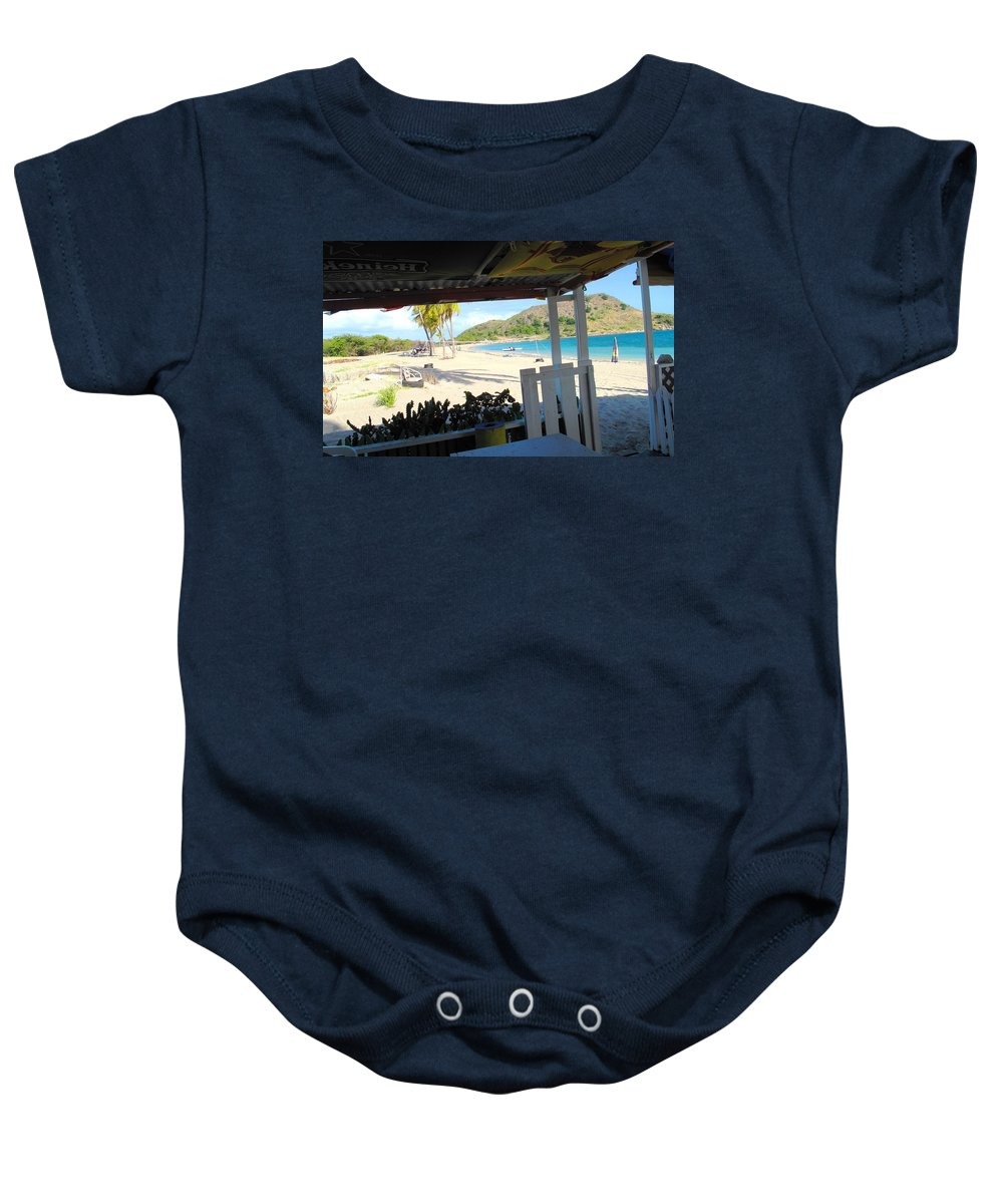 St Kitts Baby Onesie featuring the photograph Beach Bar In January by Ian MacDonald
