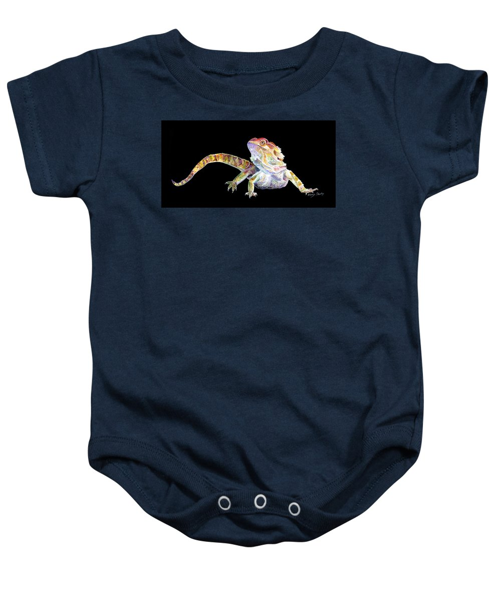 Bearded Dragon Baby Onesie featuring the painting Bearded Dragon by Sherry Shipley