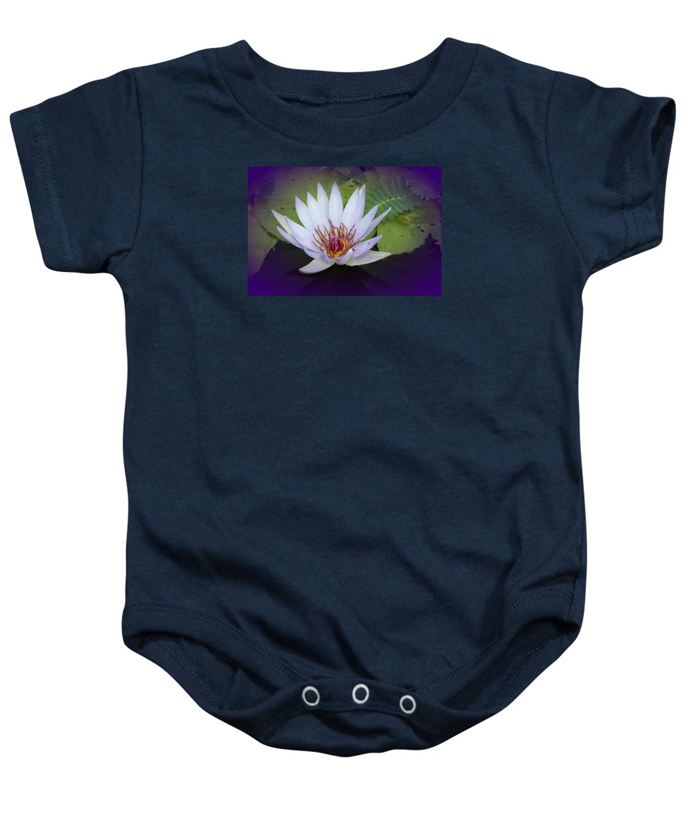 Lotus Baby Onesie featuring the photograph Beauty On The Water by Christiane Schulze Art And Photography