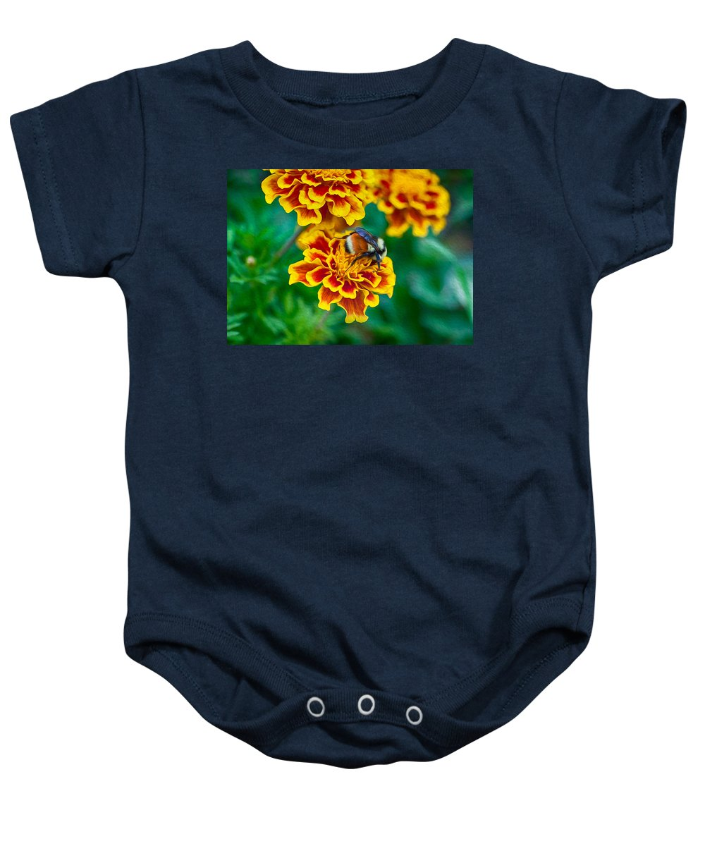 North Cascades Baby Onesie featuring the painting Bee My Friend Miss Marigold by Omaste Witkowski
