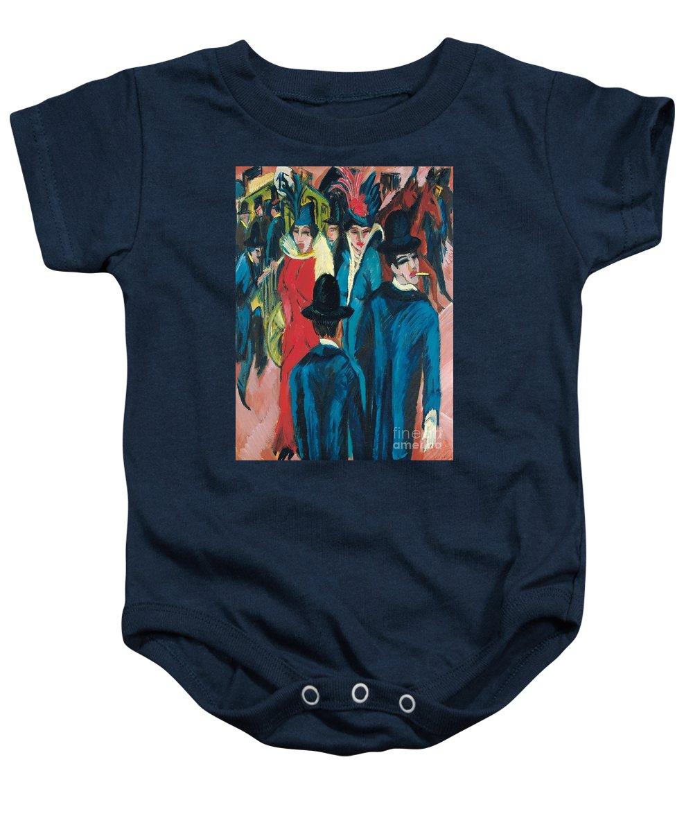 Berlin Street Scene Baby Onesie featuring the painting Berlin Street Scene by Ernst Ludwig Kirchner