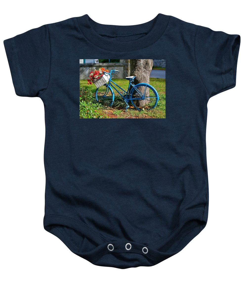 Bicycle Baby Onesie featuring the photograph Bicycle With Basket Of Flowers by Denise Mazzocco