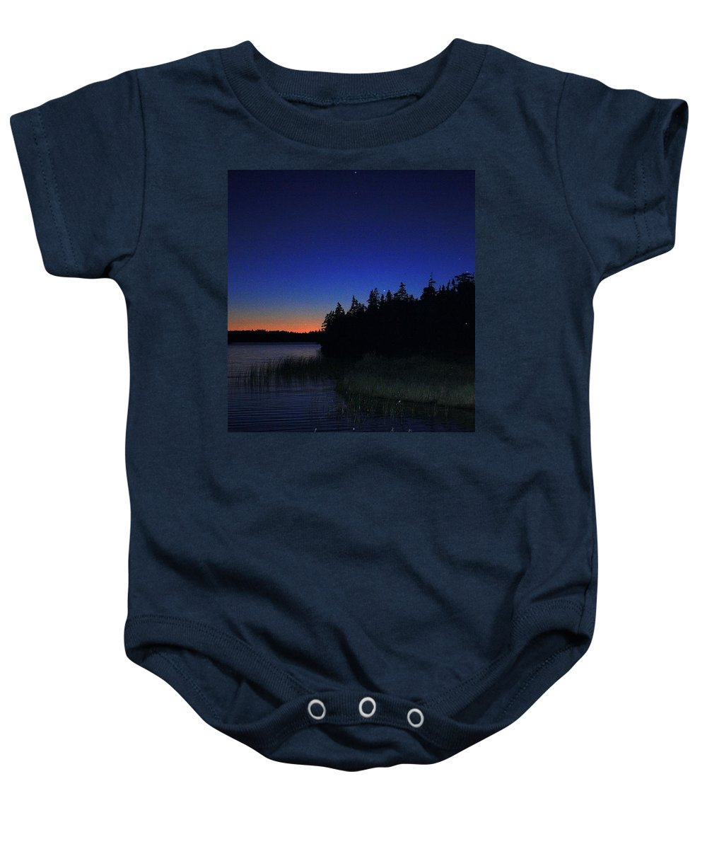 Sky Night Baby Onesie featuring the photograph Black And Blue Sky by Jason Lees