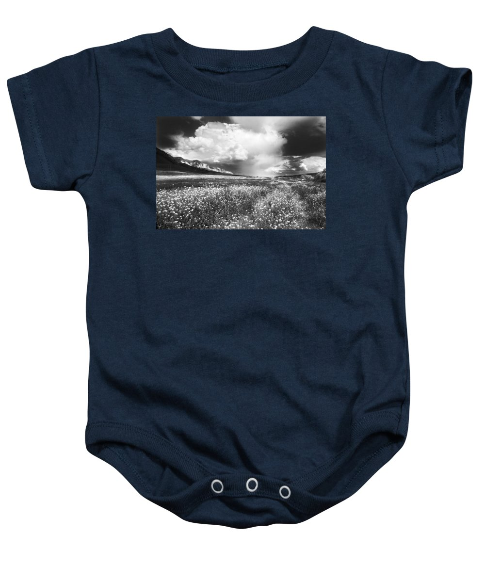 Meadow Baby Onesie featuring the photograph Black And White Meadow by Theresa Tahara