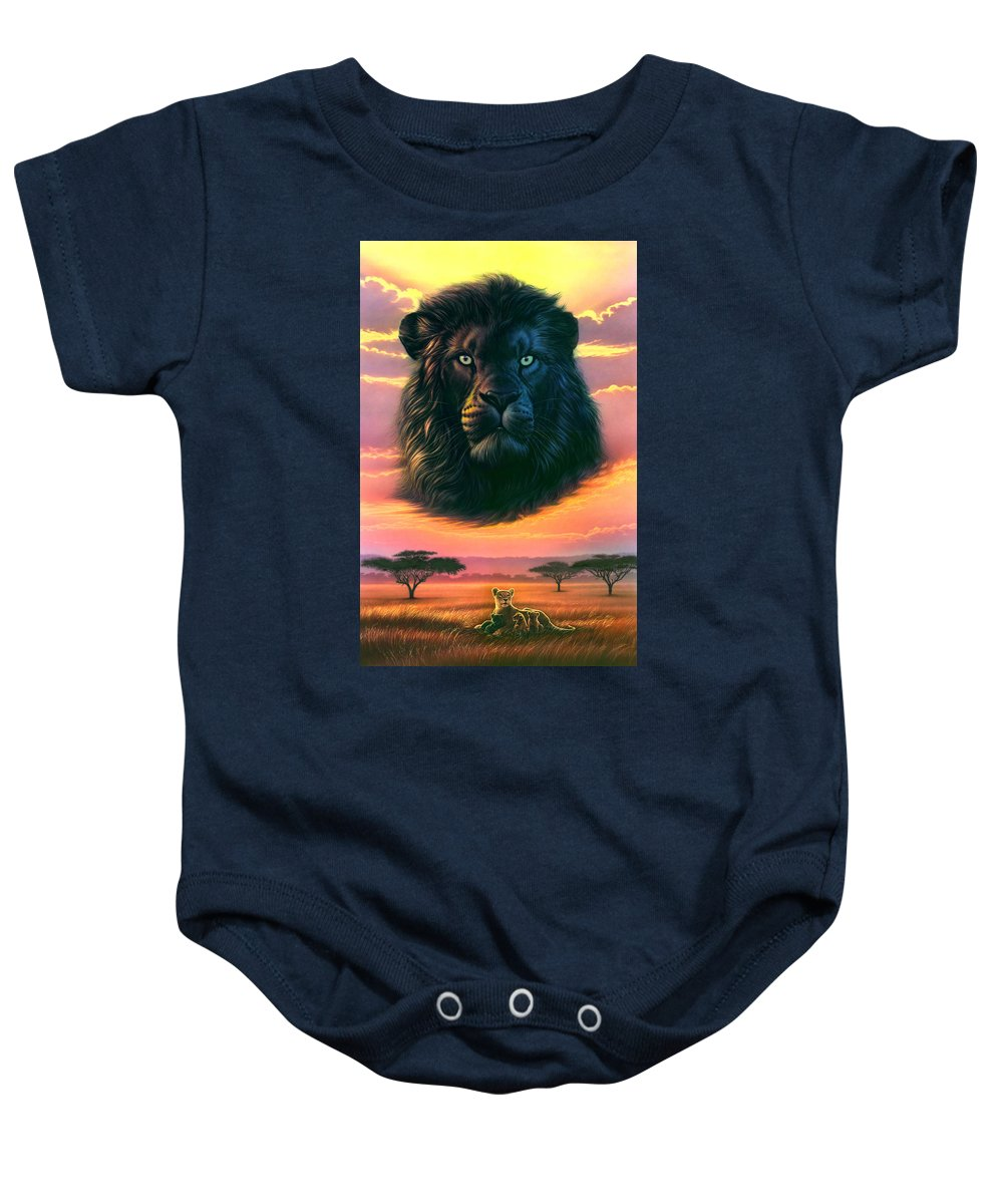 Adventure Baby Onesie featuring the photograph Black Lion by Andrew Farley